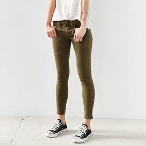 BDG Forest Green Army Skinny Jeans, Size 25
